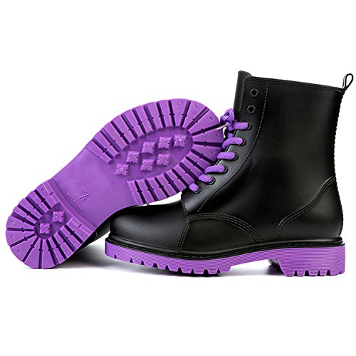 Rain Boots Waterproof Shoes Woman Water Rubber Lace Up Martin Boots Sewing Solid Flat With Shoes Purple - Ll Bean Uk Orders