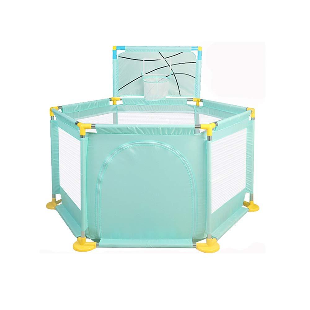 QFFL 幼児および赤ん坊のためのベビーサークル、幼児のための6パネルの携帯用屋内屋外の保証Playardボールフレームが付いている軽量の網の赤ん坊のベビーサークル - 緑/青/赤/ピンク ベビーサークル (Color : 1)  1 B07TD94KBT