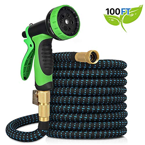 Kranich Garden Hose 100ft Expandable Garden Hose Kink-Free Flexible Water Hose with 10-Pattern Spray Nozzle