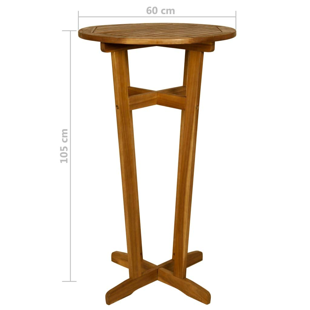Tidyard Bar Table and Barstools Bar Set of 3 Piece for Cafe Kitchen Breakfast Solid Acacia Wood