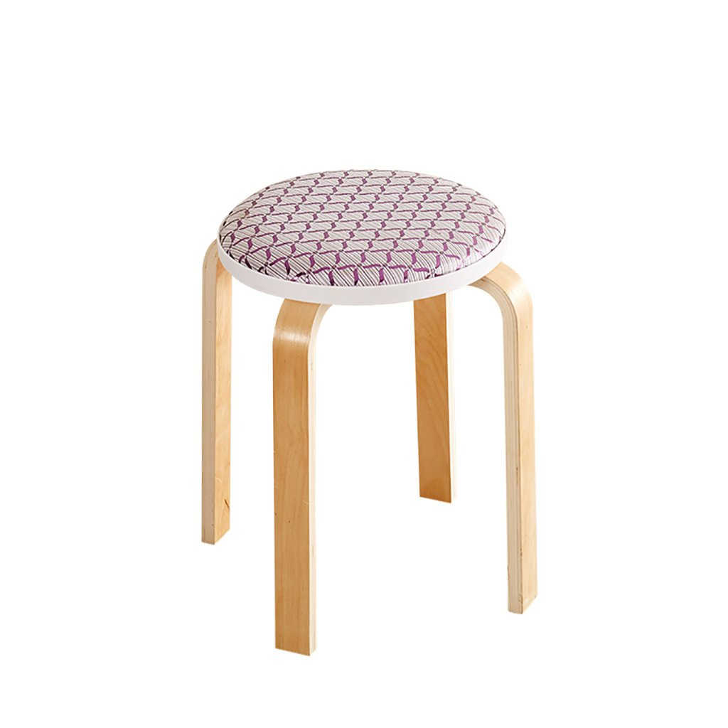 WENJUN Living Room Round Stool Fashion Creative Solid Wood Small Chair Home Simple Modern Fabric Dining Table Bench Adult Dining Chair Fashion Dressing Table Stool ( Color : 8 )
