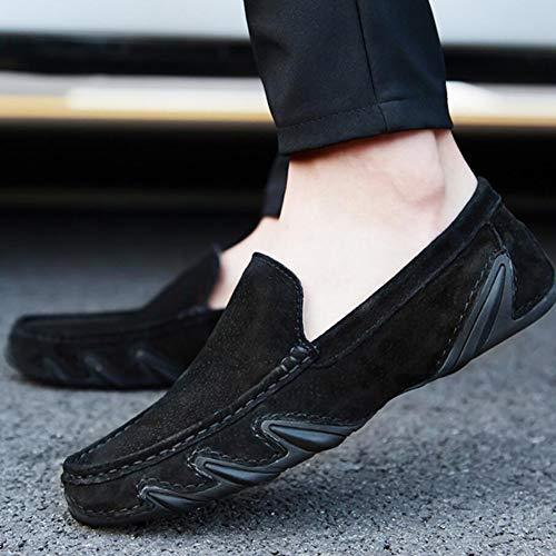 Hombre Ons de Conducción Zapatos Confort Zapatos Suela YaXuan Mano Zapatos Primavera de Ligera Lazy y Cuero Costura Segundo Otoño Slip a Mocasines zE5qfw5x