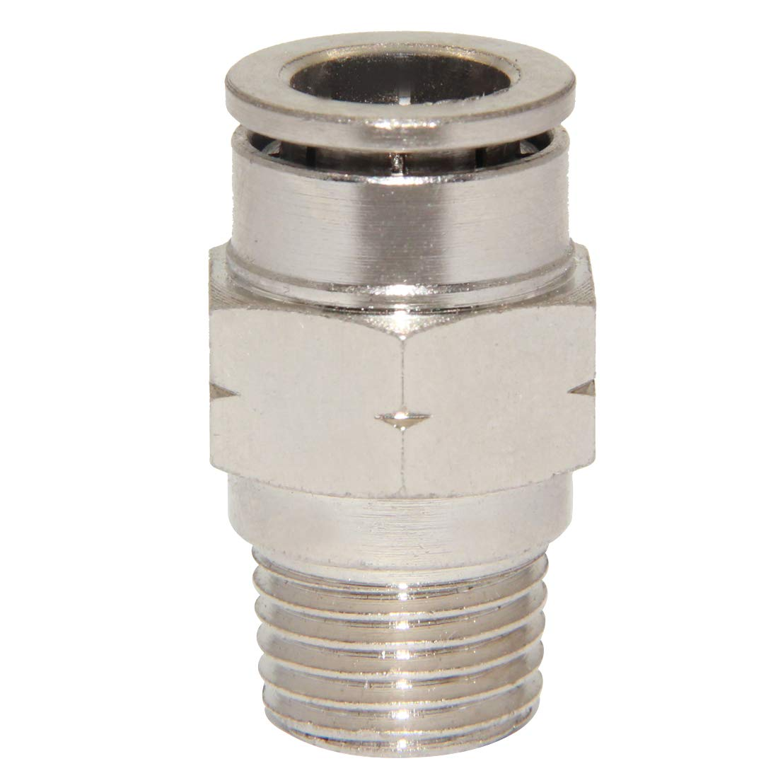1//4 Tube OD x 1//8 NPT Male Thread Straight Push Lock Fitting Pack of 5 Beduan Pneumatic BPC Nickel-Plated Brass Push to Connect Air Fitting