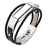 Bands for Fitbit Alta / Fitbit Alta HR, ULT-unite Replacement Silicone Colorful Band Design with Adjustable Metal Clasp, Prevent Tracker Falling Off(No tracker, Replacement Bands (sheep leather rope-black)