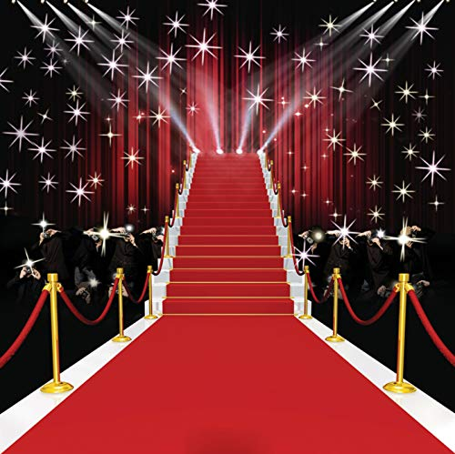GoodsFederation 8x8ft Stage Lighting Red Carpet Photo Backdrops for Pictures Red Curtain Photography Background Photo Booth Studio Props RM-039 from GoodsFederation