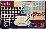 Coffee Themed Kitchen Rugs Gourmet Club Anti-Slip Printed Kitchen Rug 18x28, Latte Espresso Floor Mat