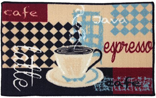 Gourmet Club Anti-Slip Printed Kitchen Rug 18x28, Latte Espresso Floor Mat