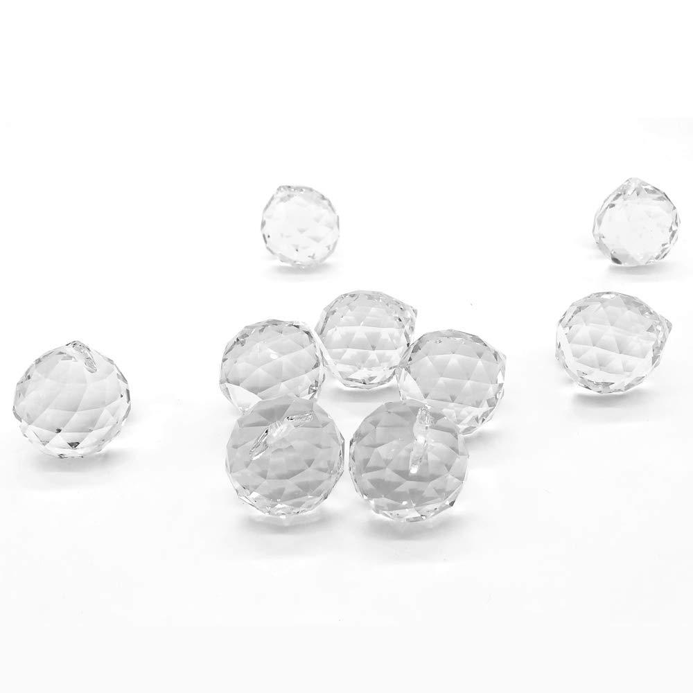 Inxin Clear Prisms Crystal Glass Ball,for Feng Shui suncatcher Lamp Hanging Drop Chandelier Pendants Suncatchers Wedding Decoration 40mm Pack of 10