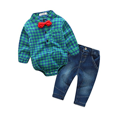 TRENDINAO Infant Toddler Newborn Boys Clothes Grid Tops Tie Romper+Pants Jeans Outfits