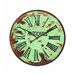 Creative Co-op DA2861 Antiques Distressed Green Round Metal Wall Clock