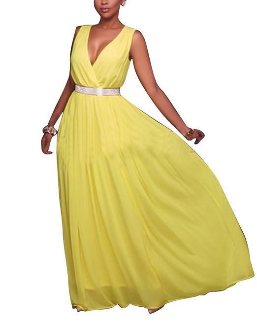 Elegante Sin Mangas Cuello En V Profundo Vestido De Noche Para Mujer Plain Vestido Amarillo L