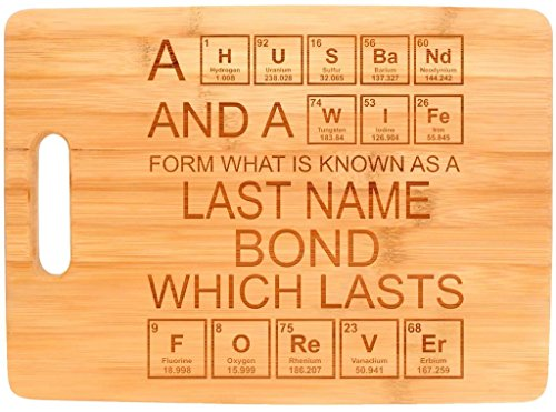 Custom Nerdy Couple's Gift Enter Last Name Personalized Big Rectangle Bamboo Cutting Board - Name Glasses Nerd