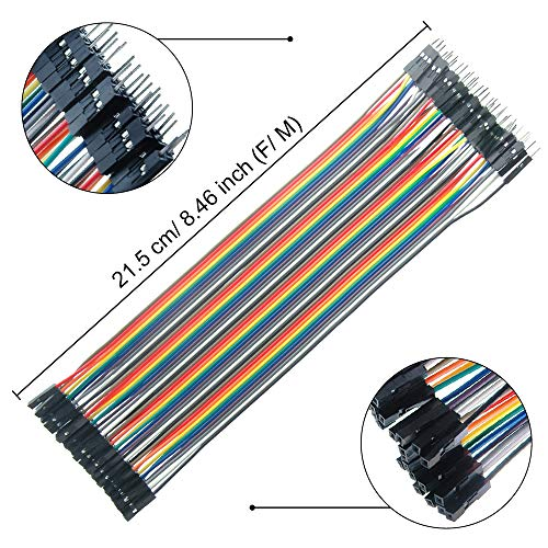 MUYI 120pcs Jumpers Leads Breadboard Dupont Wire 40 Pin Male to Male (M/M), Female to Female (F/F), Male to Female (M/F) 3 in1 Ribbon Cables Assortment Kit for Arduino Raspberry DIY Pi 2 3