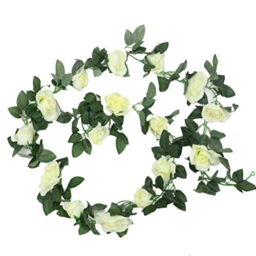 Sunrisee 1 Pack Artificial Silk Rose Flower Leaf Garland Fake Ivy Vines for Wedding Home Hotel Party Garden Craft Art Decor, 7.3FT (Cream)
