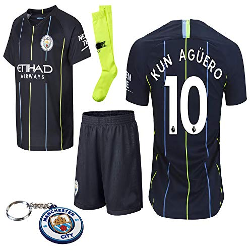 Manchester City 2018 19 Replica Aguero Kevin De Bruyne Kid Jersey Kit : Shirt, Short, Socks, Bag, Key Chain