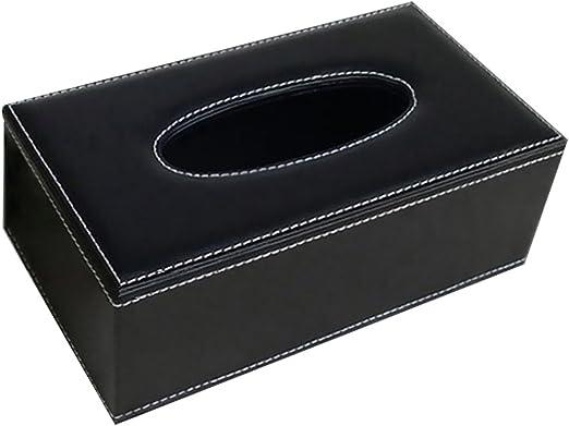 Hemore Soporte para Caja de pañuelos de Piel sintética, dispensador de pañuelos para el hogar y el Coche, Color Negro: Amazon.es: Hogar