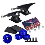 Cal 7 Skateboard Package, Complete Combo Set with 5.25 Inch Quality Aluminum Trucks, 52mm 99A Wheels, Bearings & Hardware (Black Truck + Dark Blue Wheels)