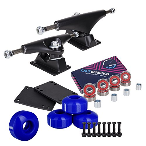 Cal 7 5.25 Inch Skateboard Trucks, 52mm Wheels, Plus Bearings Combo Set (Black Trucks, Blue Wheels)