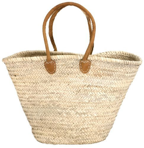 - Moroccan Straw Market Bag w/Long Brown Leather Strip Handles - 20
