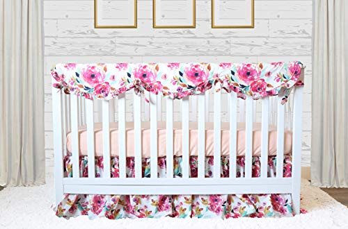 (Magenta Floral 3 pc Baby Girl Crib Bedding Set)