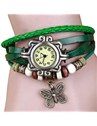 Women's Ladies Boho Hipster Vintage-inspired Leather Woven Charm Bracelet Watch Green