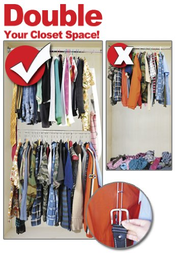 LARGE HEAVY DUTY XTRA CLOSET DOUBLES CLOSET SPACE WITH FREE BONUS (Closet Hang Double)