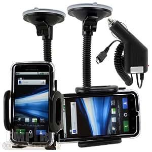 Motorola Atrix 4G At&t Car Windshield Dash Mount Cradle Holder Kit + Micro USB Rapic Car Charger MB860 Android