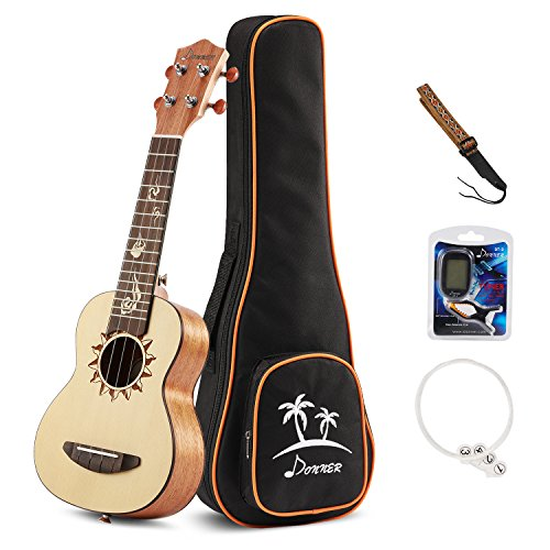 Image of the Donner Soprano Ukulele Spruce DUS-3 21 inch with Ukulele Set Strap Nylon String Tuner