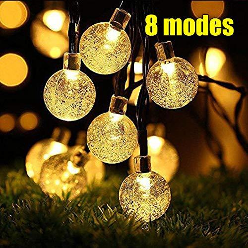 iihome ZEM 50 Luces Solares de la Cadena, a Prueba de Agua 6.7m de Jardín Iluminación Solar con forma de Bola de Cristal de Navidad: Amazon.es: Iluminación