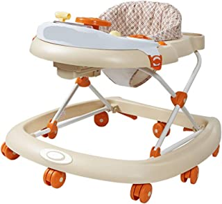 Mai Dou Baby Walker | Portable Thicken Seat | Multi-function Anti-rollover | Easy Folding Adjustable Seat | Suitable For Ages 6-18 Months,Brown