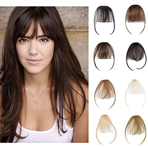 Clip In Air Bangs 100% Remy Human Hair Extensions One Piece front Neat Air Fringe Hand Tied Straight Flat Bangs Clip On Hairpiece With Temples For Women #2 Dark Brown - Bangs Extensions Hair