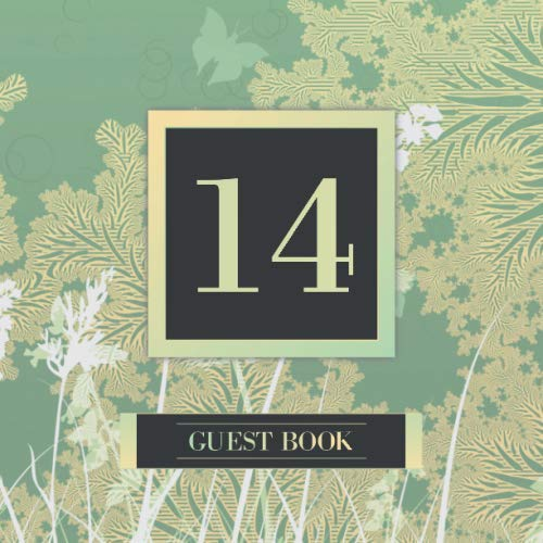14 Guest Book: Guest Book For 14th Birthday / Wedding Anniversary -  Keepsake Memory Book For Party Guests to Leave Signatures, Notes and Wishes in - 14 Years Old / Married - Green Gold Forest Theme]()