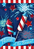 Toland - Home Of The Brave - Decorative Patriotic Summer Independence Firework USA-Produced House Flag