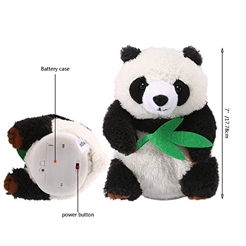 Yoego Cute Mimicry Pet Talking Panda Repeats What You Say Plush Animal Toy Electronic Panda Panda for Children/Toy Gifts Birthday Gifts, 4 x7 inches (Black & White)