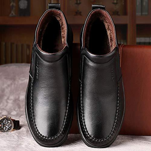 Enfiler À A Au Souple Résistant En Cuir De Homme Garde Interne Boots Neige Antidérapant Fourrure Loisir Chaud L'usure Chaussure Xiguafr Noir Bottes BnZHq6q
