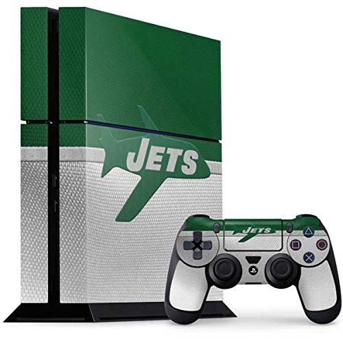 (Skinit NFL New York Jets PS4 Console and Controller Bundle Skin - New York Jets Vintage Design - Ultra Thin, Lightweight Vinyl Decal Protection )
