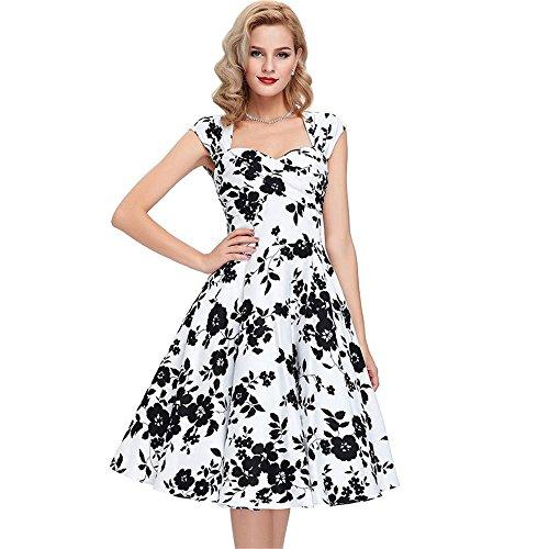 26ad5502833a JOTHIN 50s Damen Floralem Print Rockabilly Kleid Frauen V-ausschnitt Vintage  Cocktailkleider Ärmellose Swing Kleider