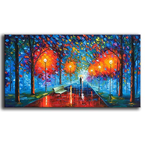 (YaSheng Art -24x48 inch Landscape Oil Painting On Canvas Rain Street Tree Lamp Textured Abstract Contemporary Art Wall Paintings Handmade Painting Home Office Decorations Canvas Wall Art)