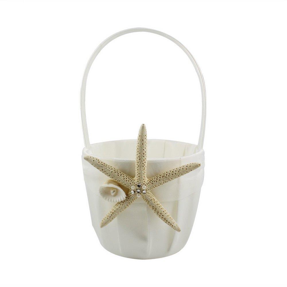 CheckMineOut Beach Wedding Cream Satin Flower Girls Basket With Sea Star Starfish Seashell