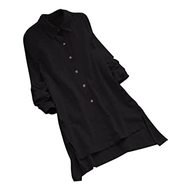 88ce0f8d9ad LILYYONG Plus Size Loose Casual Pocket Shirt Button Women s Long Sleeve Long  Tops Blouse  Amazon.co.uk  Clothing