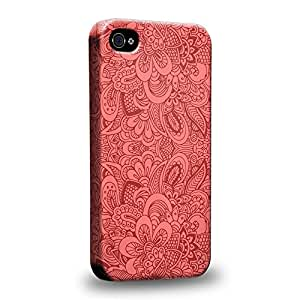 Case88 Premium Designs Art Salmon Pink Doodle Doilies Pattern Carcasa/Funda dura para el Apple iPhone 4 4s