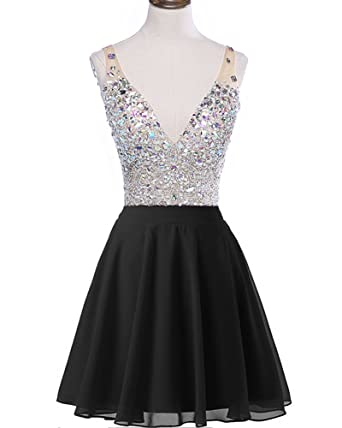 Meilishuo Womens Sparkly Beading Homecoming Dress Chiffon Short Prom Dress with Crystals
