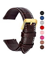 7 Colors for Quick Release Leather Watch Strap, Fullmosa Bamboo Genuine Leather Watch Band 18mm, 20mm, 22mm Or 24mm (Choose The Proper Size)