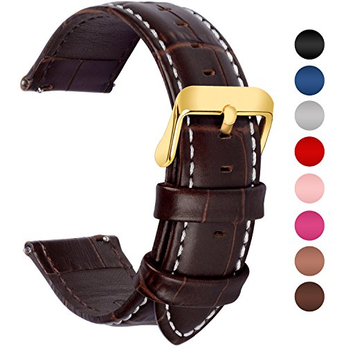 Brown Watch Band Gold Clasp - Fullmosa 7 Colors for Quick Release Leather Watch Band, Bamboo Series Genuine Leather Replacement Watch Strap with Stainless Metal Clasp 20mm Dark Brown-GD