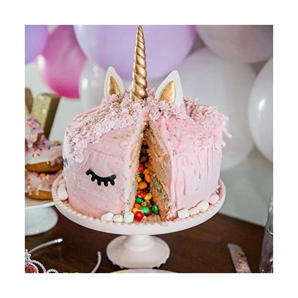 GmakCeder Unicorn Cake Topper,Reusable Unicorn Horn, Ears and Eyelashes Party Cake Decoration Value Set for Baby Shower, Birthday Party (6inch) (8 inch) 7