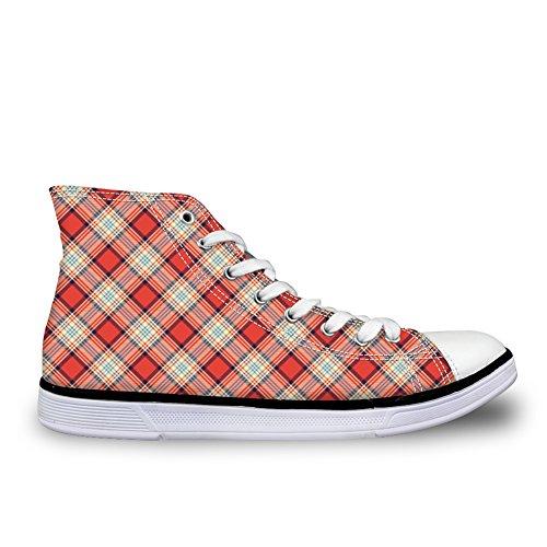 Bigcardesigns Unisexe Décontracté Haut Haut Rétro Toile Skate Shoes Baskets À Carreaux Orange 2