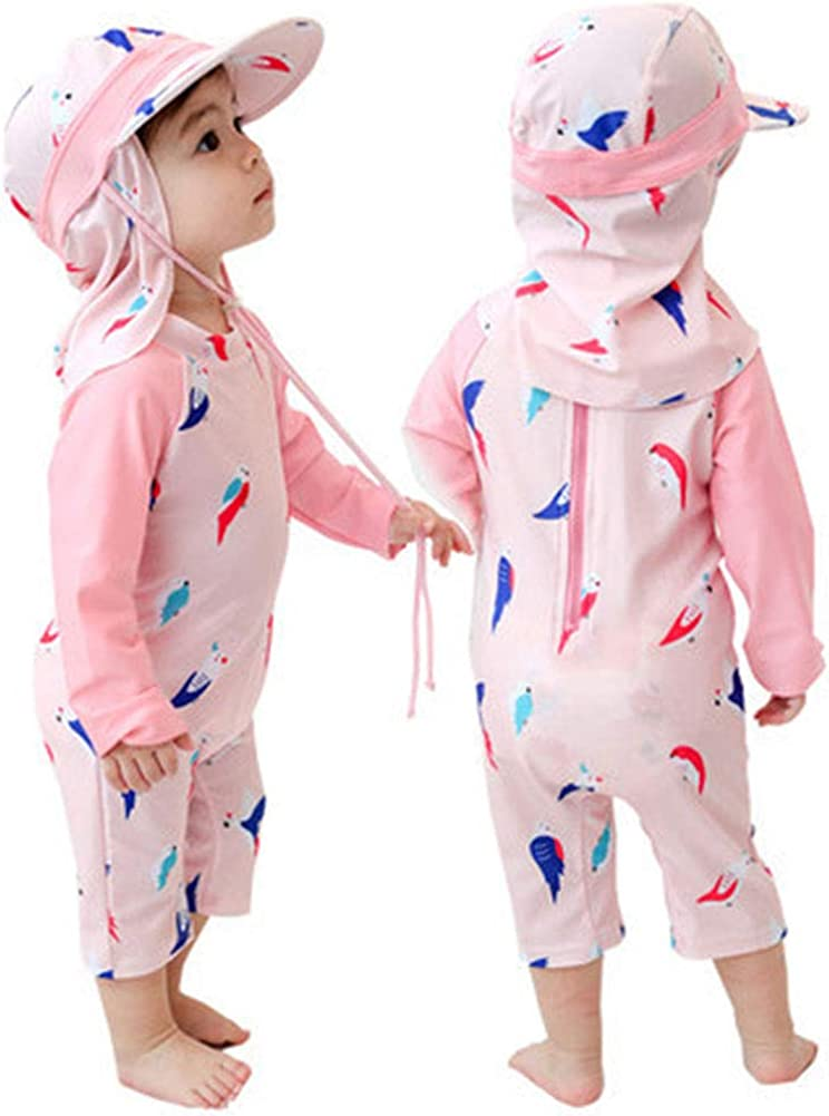 Digirlsor Toddler Kids Girls One Piece Swimsuit Rash Guard Long Sleeve Swimwear Bathing Suit with Hat UPF 50+,2-8Y