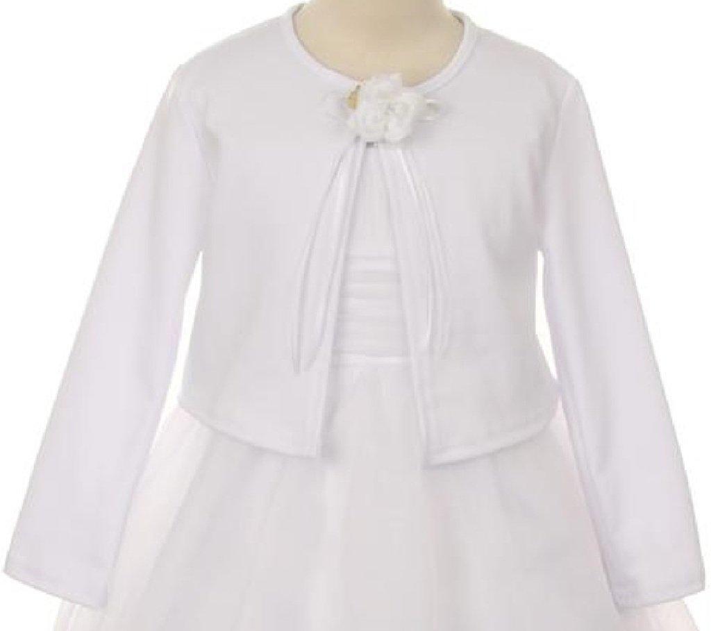 Little Girls Long Sleeve Flower Girl Cardigan Sweater Bolero (13KD3) White 2