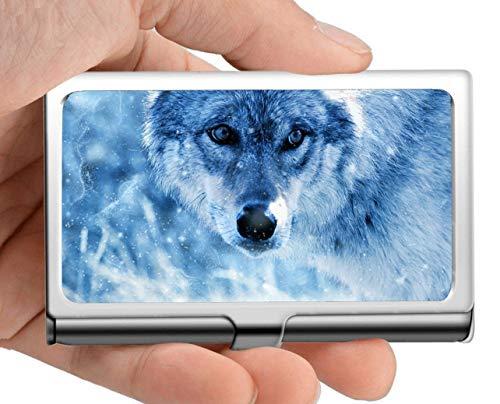 - Professional Business Card Holder Stainless Steel,Wildlife Predator Animal Wolf Flower Name Card Case