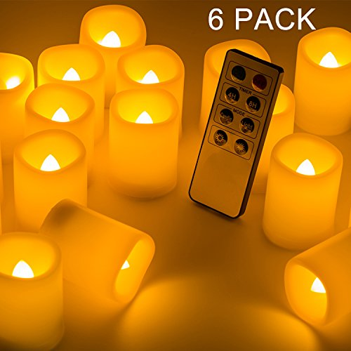 Beichi Set of 6 Remote Control LED Candles with Timer, Flickering Flameless Votive Candles, Long Lasting Battery Operated Unscented Candles, Ivory Electric Candles in Amber Yellow Flame, D1.5''x2''H by Beichi